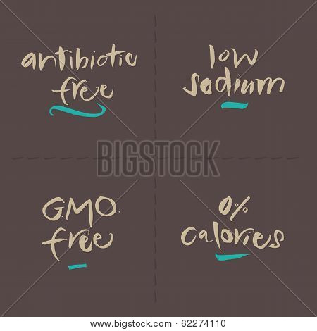 Hand written Vector Food Labels - Antibiotic Sodium GMO Calories