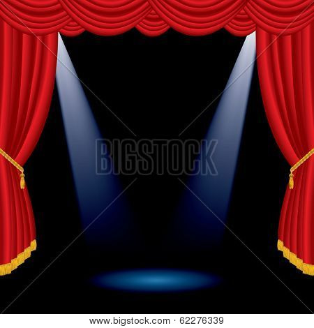 vector illustration of the empty red stage with two spotlights