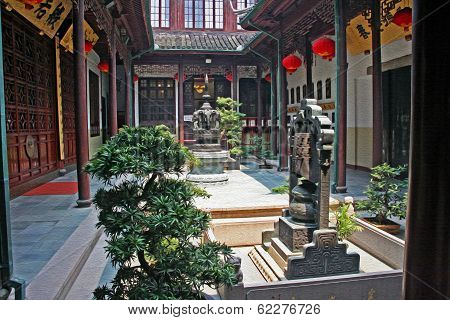 Ornamental Courtyard Of Jade Buddha Temple, Shanghai,  Oil Paint Stylization