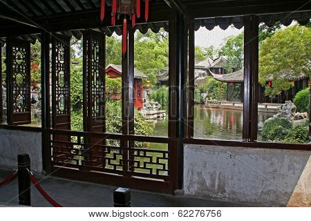 Chinese Garden Seen From The Inside Of A Pavilion, Suzhou, China,  Oil Paint Stylization