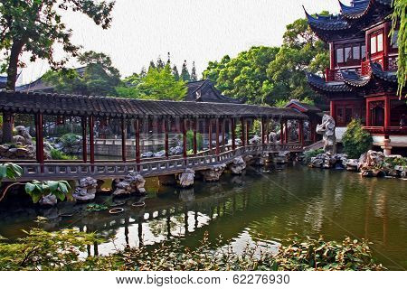Pavilion In Yuyuan Gardens, Shanghai, China, Oil Paint Stylization