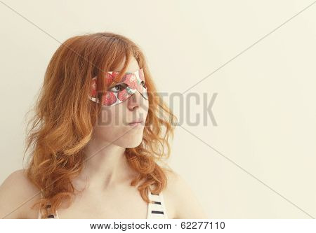 Superhero Girl Wearing Mask With Strawberries