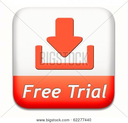free trial download test sample free of charge. Try new product here and now. Promotion or advertising label sign or icon.