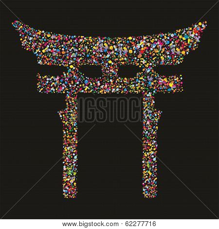 Grunge Colourful Religious Japanese Shinto Symbol, Vector Illustration