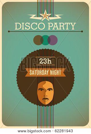 Retro disco poster. Vector illustration.