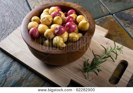 Bowl Of Small Organic Potatoes.