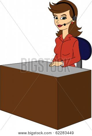 Female Receptionist at Desk