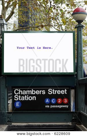 The billboard of a train station's entrance isolated in white