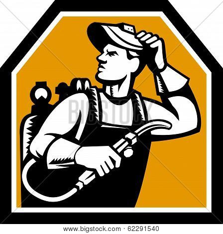 Welder Holding Welding Torch Woodcut Retro