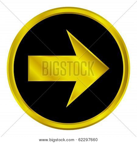 Golden Arrow Sign Button
