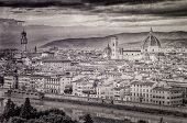Scenic View Of Florence In Vintage Monochrome Style