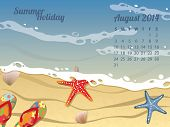 stock photo of august calendar  - Beach Calendar for August 2014 - JPG