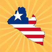 Liberia map flag on sunburst illustration