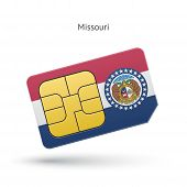 State of Missouri phone sim card with flag.