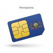 State of Pennsylvania phone sim card with flag.