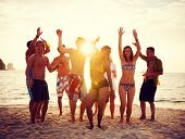 stock photo of woman bikini  - Group of People Partying on Beach at Sunset - JPG