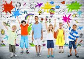 foto of children group  - Group of Diverse Children Playing with Colorful Background - JPG