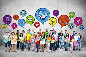 image of adolescent  - Group of Young Students with Speech Bubbles - JPG