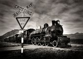 foto of locomotive  - Vintage Steam Locomotive - JPG