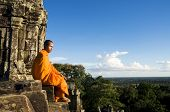 stock photo of ancient civilization  - Contemplating Monk - JPG