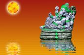 picture of ganesh  - The sculpture of Indian god Lord Ganesh with reflected - JPG
