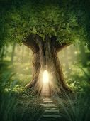 stock photo of surrealism  - Fantasy tree house with light in the forest - JPG