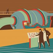 picture of reactor  - Scientists controlling a large reactor retro vector illustration - JPG