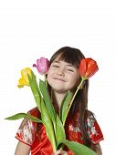 pic of national costume  - Portrait of caucasian little girl in vietnamese national costume keep flowers tulips isolated on white - JPG
