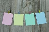 stock photo of clotheslines  - Pastel colorful note cards  - JPG