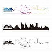 stock photo of memphis tennessee  - Memphis skyline linear style with rainbow in editable vector file - JPG