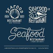 stock photo of indigo  - Vintage seafood restaurant layout New York - JPG