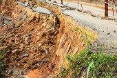 picture of landslide  - broken road by an earthquake or landslide - JPG