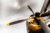 stock photo of propeller plane  - an old obsolete aircraft propeller bottom - JPG