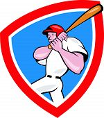 stock photo of hitter  - Illustration of an american baseball player batter hitter batting with bat done in cartoon style set inside red crest shield isolated on white background - JPG