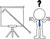picture of going out business sale  - Hand drawn cartoon blank face businessman beside standing sales chart with question mark and sales going down off chart - JPG