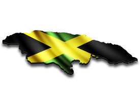 stock photo of jamaican flag  - Flag map of Jamaica in perspective - JPG