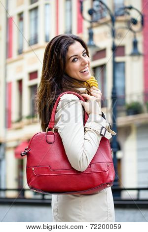Fashion Happy City Woman With Red Handbag