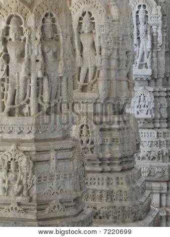 Statues Of Hindu Gods And Goddesses  On Columns
