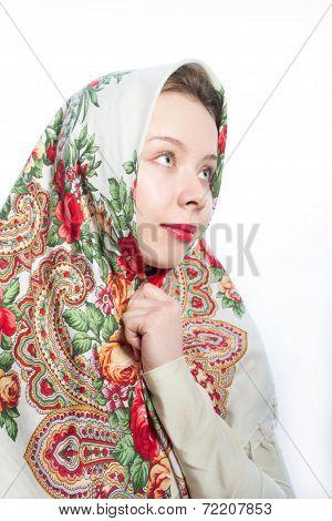 Russian beautiful woman in kerchief