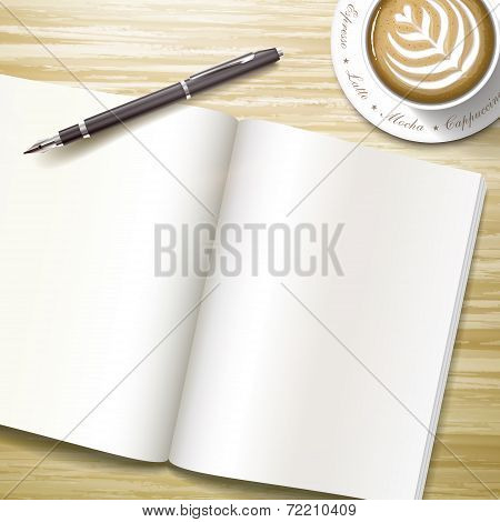 Blank Open Book Over Wooden Desk