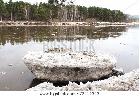 Beached river after an ice drift floe Kahn