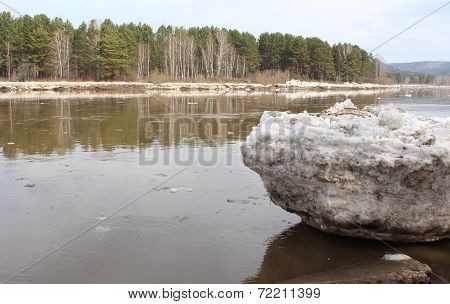 Beached Kan River floe. Zelenogorsk