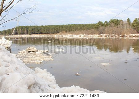 Kan River after an ice drift.