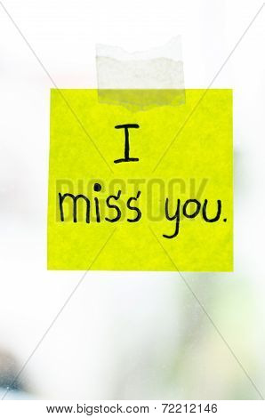 I Miss You Word On Sticky Note