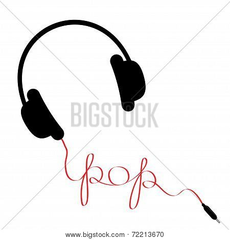 Black Headphones With Red Cord In Shape Of Word Pop. Music Card. Flat Design.