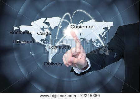 Business Man Working With Virtual Interface Use For Logistics Background