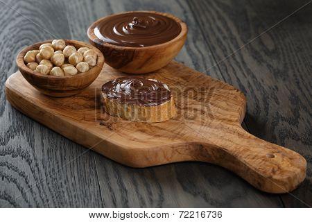Baguette Slice With Chocolate Hazelnut Spread