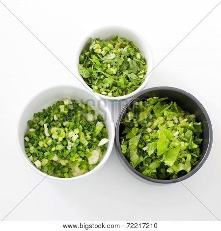 Chopped Celery, Spring Onion,  Parsley Ingredientthai Style Breakfast- (rice Congee Mixed With Meat)