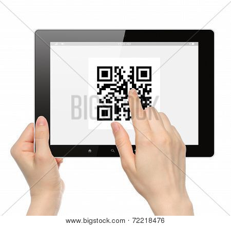 Hand push qr code on tablet pc