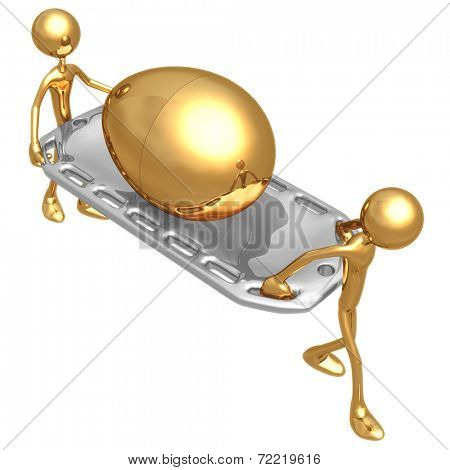 Injured Gold Nest Egg On A Stretcher